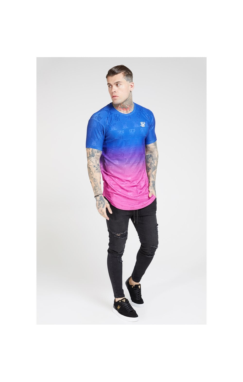 SikSilk Monogram Fade Gym Tee – Blue Neon (2)