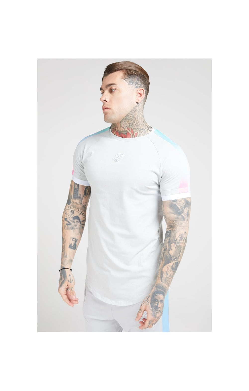 Load image into Gallery viewer, SikSilk S/S Inset Fade Tech Tee – Ice Grey & Tri Fade (1)