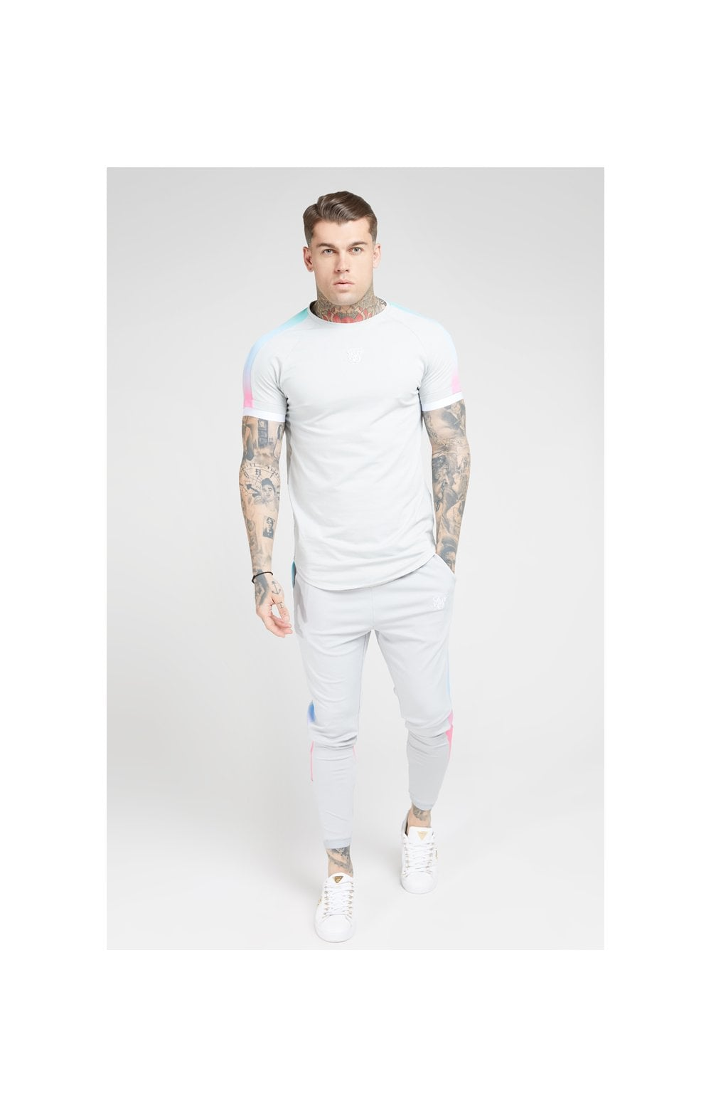 Load image into Gallery viewer, SikSilk S/S Inset Fade Tech Tee – Ice Grey & Tri Fade (2)
