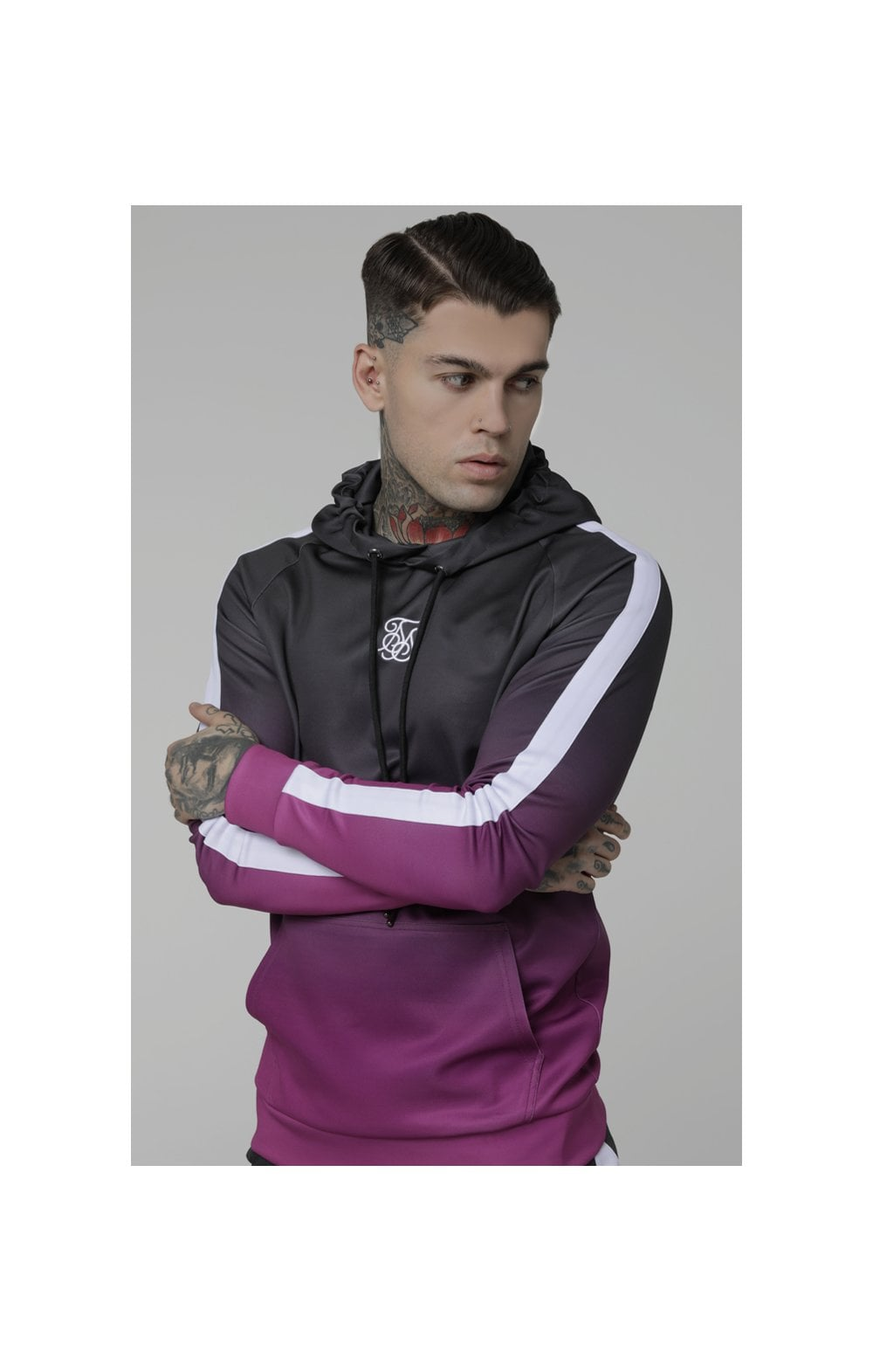 Load image into Gallery viewer, SikSilk Vapour Fade Overhead Hoodie - Grey & Pink