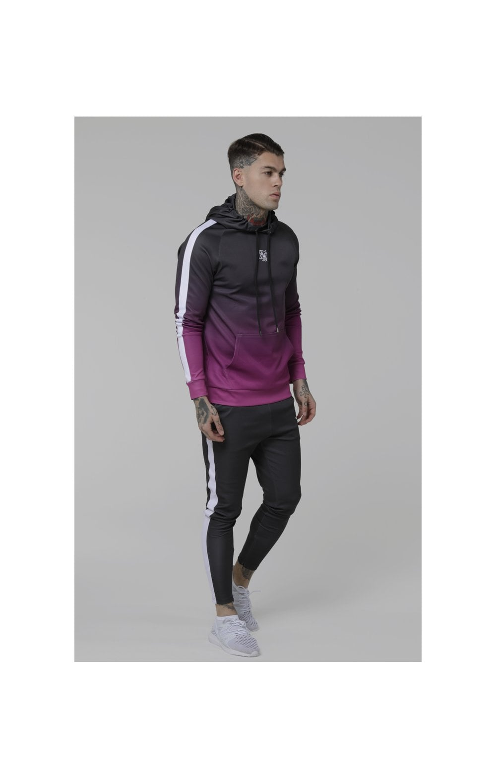 Load image into Gallery viewer, SikSilk Vapour Fade Overhead Hoodie - Grey & Pink (1)