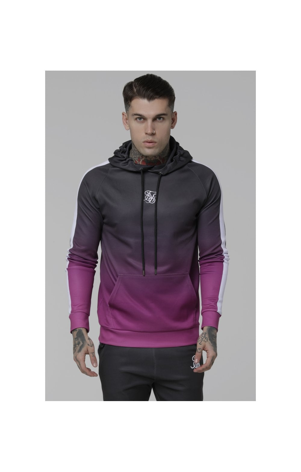 Load image into Gallery viewer, SikSilk Vapour Fade Overhead Hoodie - Grey & Pink (2)