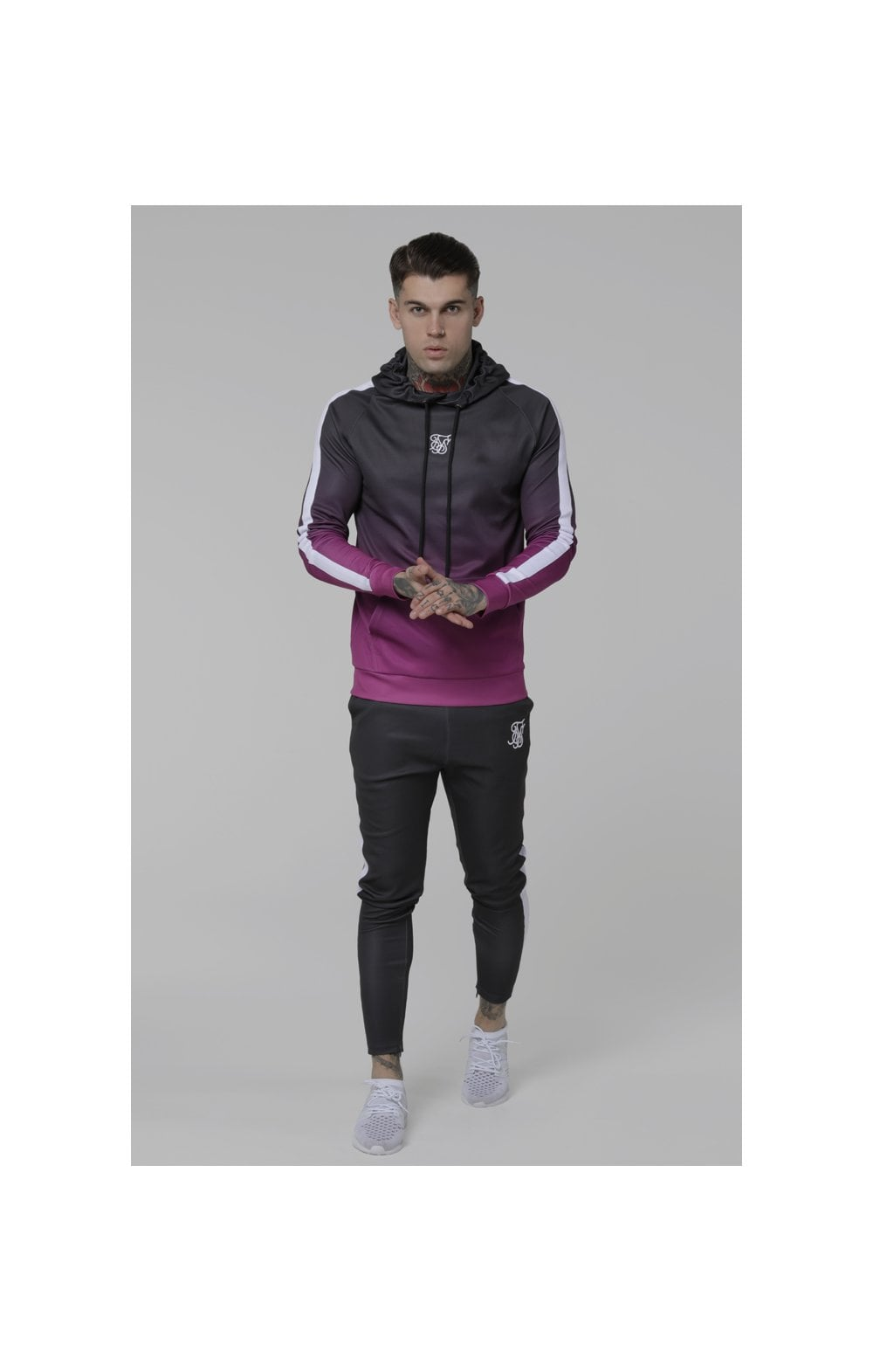 Load image into Gallery viewer, SikSilk Vapour Fade Overhead Hoodie - Grey & Pink (3)