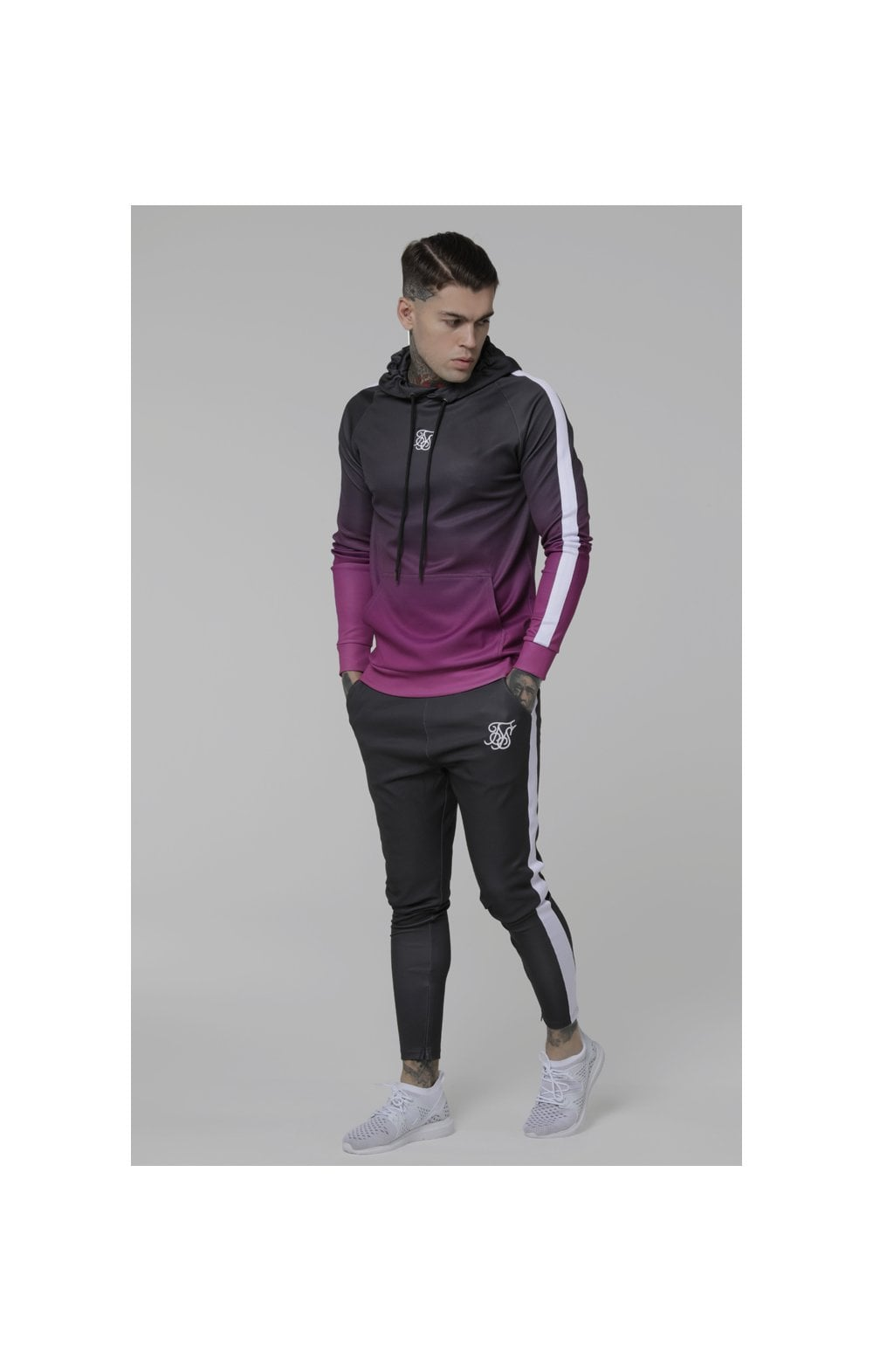 Load image into Gallery viewer, SikSilk Vapour Fade Overhead Hoodie - Grey & Pink (4)