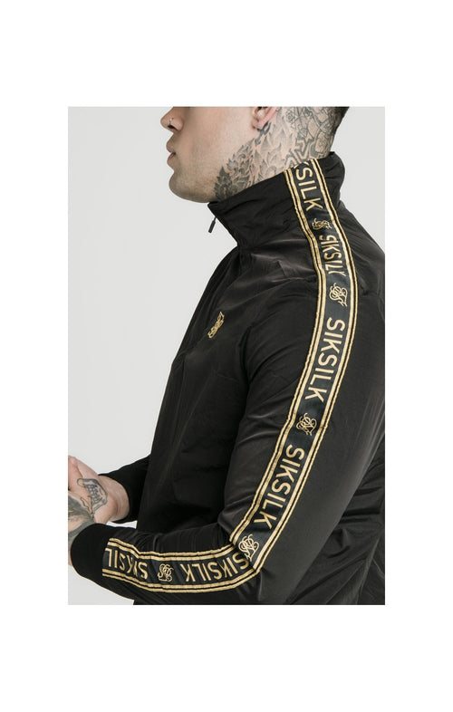 SikSilk Quarter Zip Funnel Neck Track Top – Black & Gold