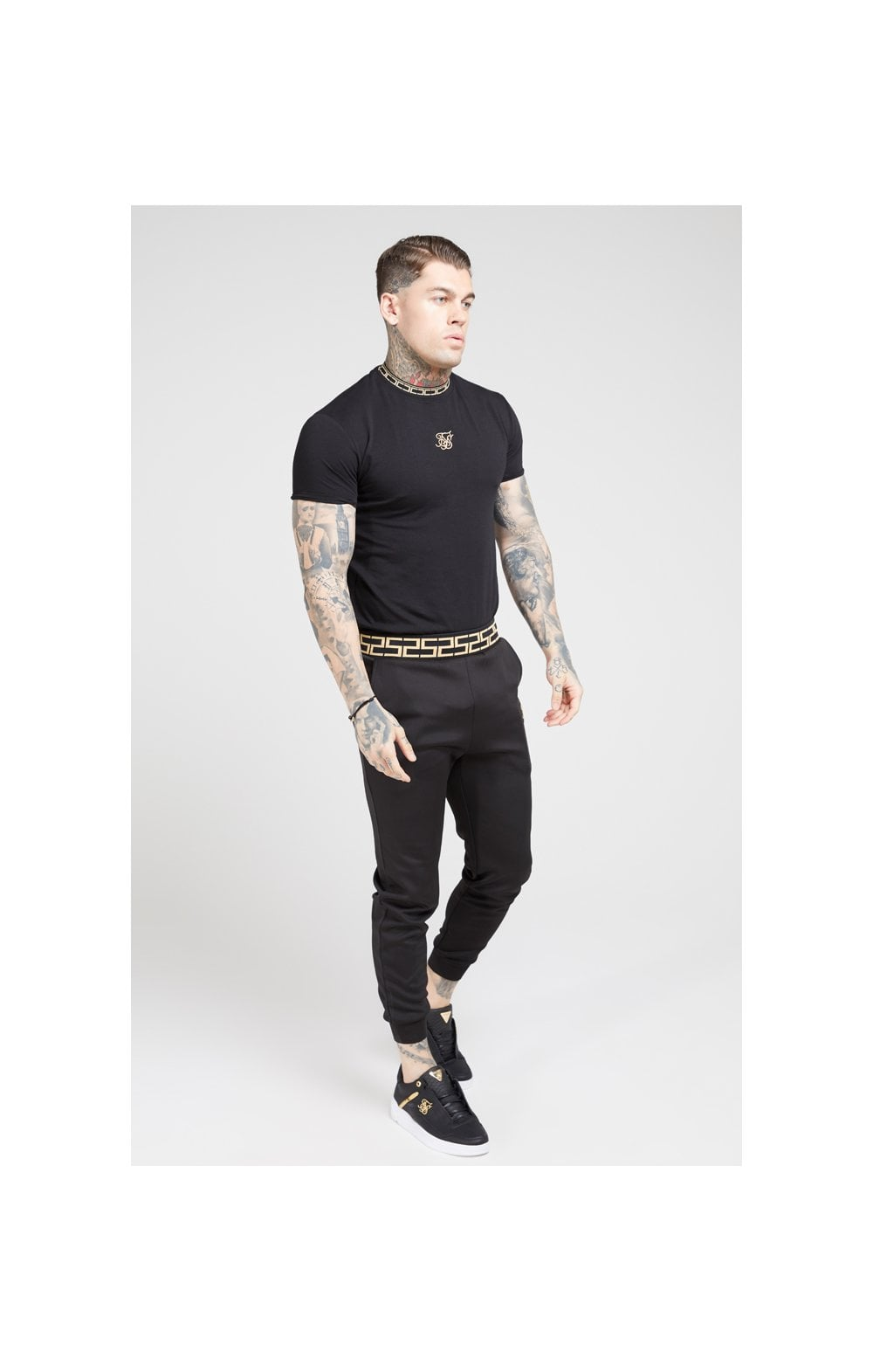 Load image into Gallery viewer, SikSilk Tape Collar Gym Tee - Black & Gold (2)