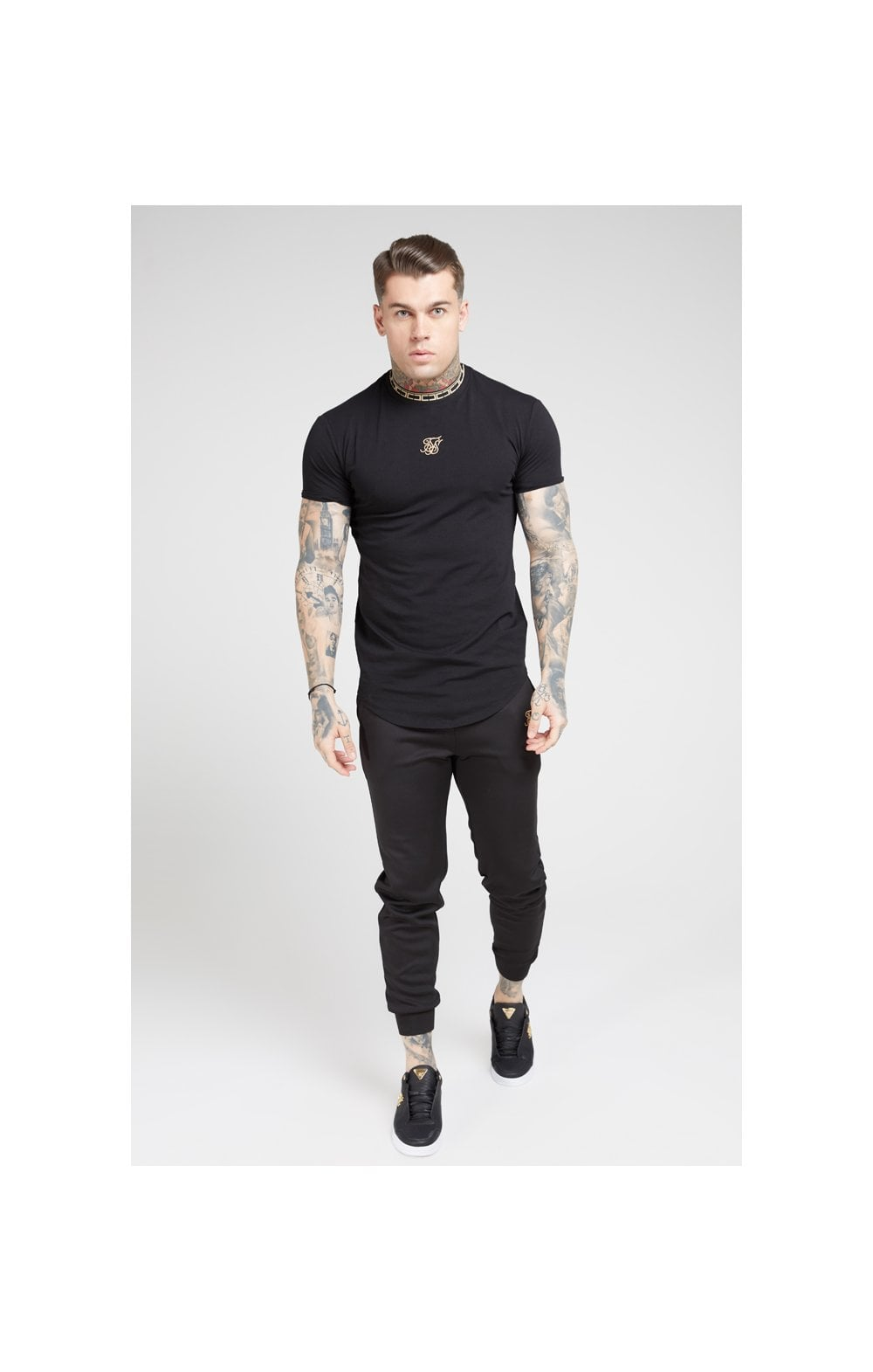 Load image into Gallery viewer, SikSilk Tape Collar Gym Tee - Black & Gold (3)