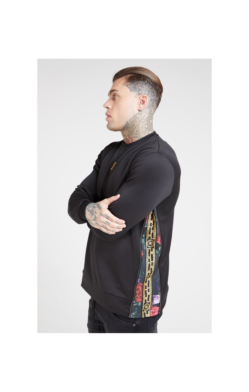 SikSilk Side Zip Crew Sweat – Black & Oil Paint