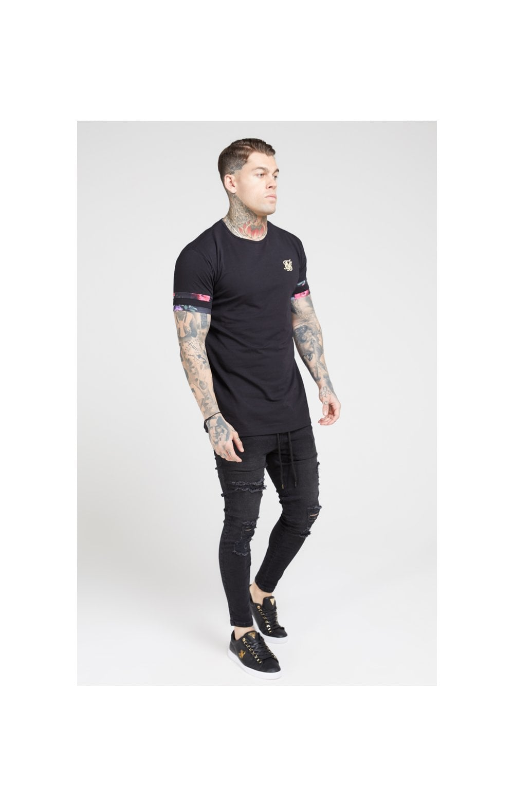 SikSilk S/S Tournament Tee – Black & Oil Paint (4)