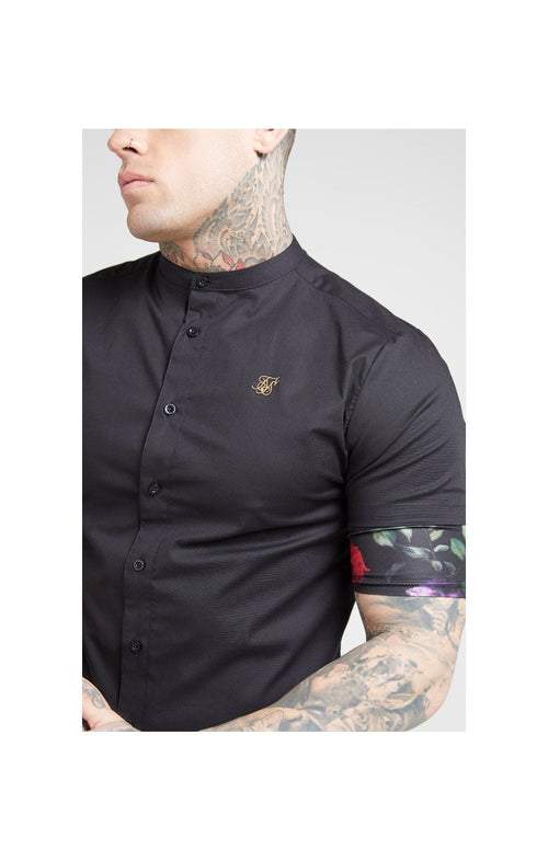 SikSilk MidSleeve Grandad Shirt - Black & Oil Paint