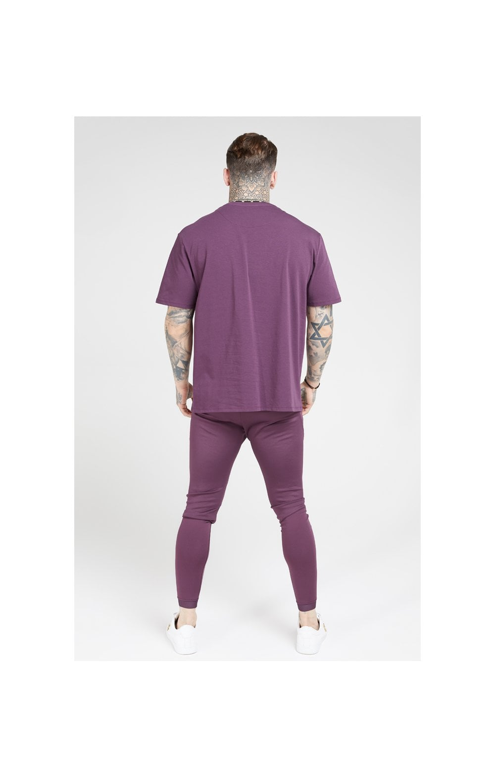 Load image into Gallery viewer, SikSilk Tape Collar Essential Tee - Burgundy & Gold (5)