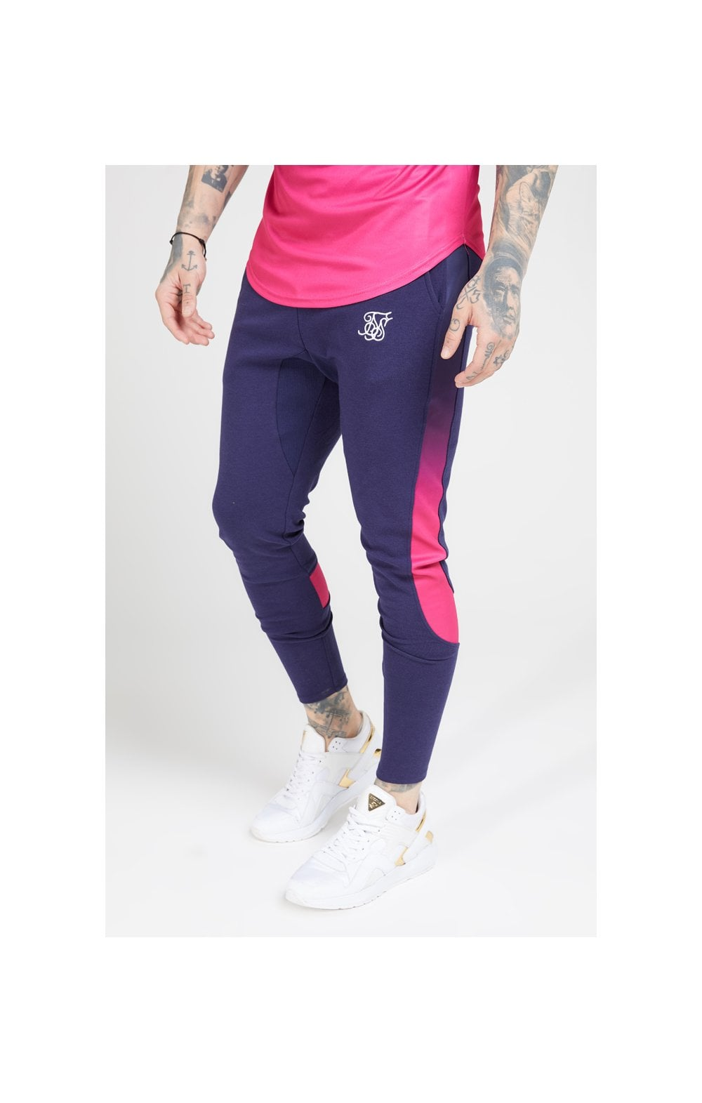 SikSilk Athlete Tech Fade Track Pants – Navy & Neon Fade