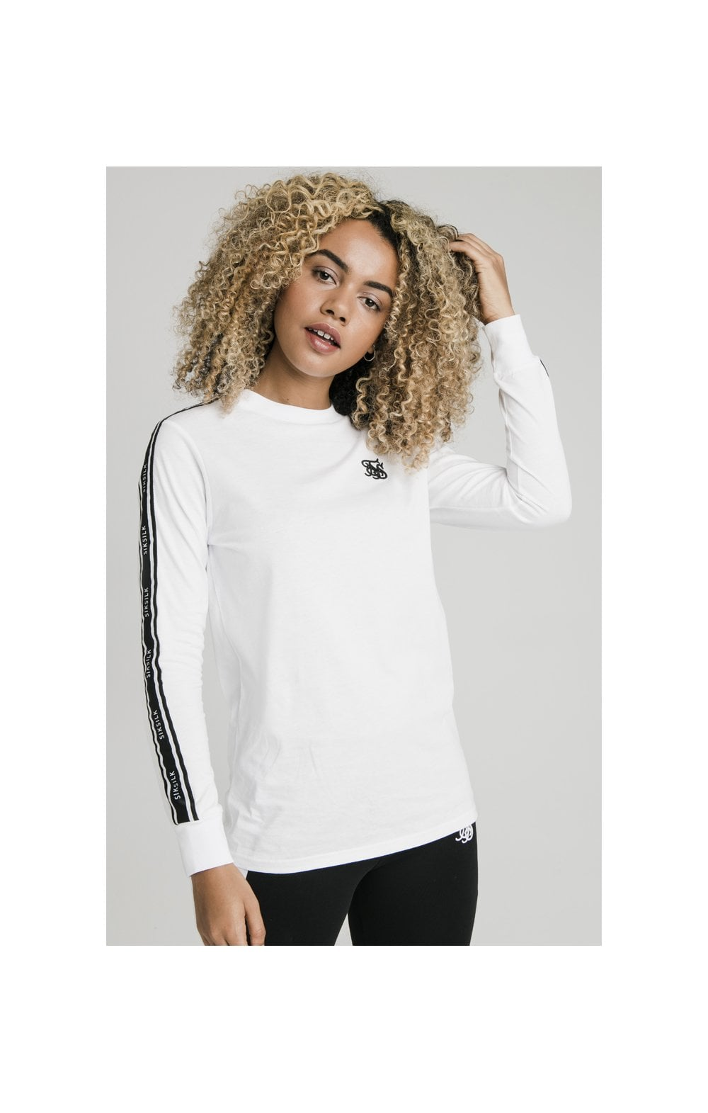Load image into Gallery viewer, SikSilk L/S Taped Logo Tee - Black & White (1)