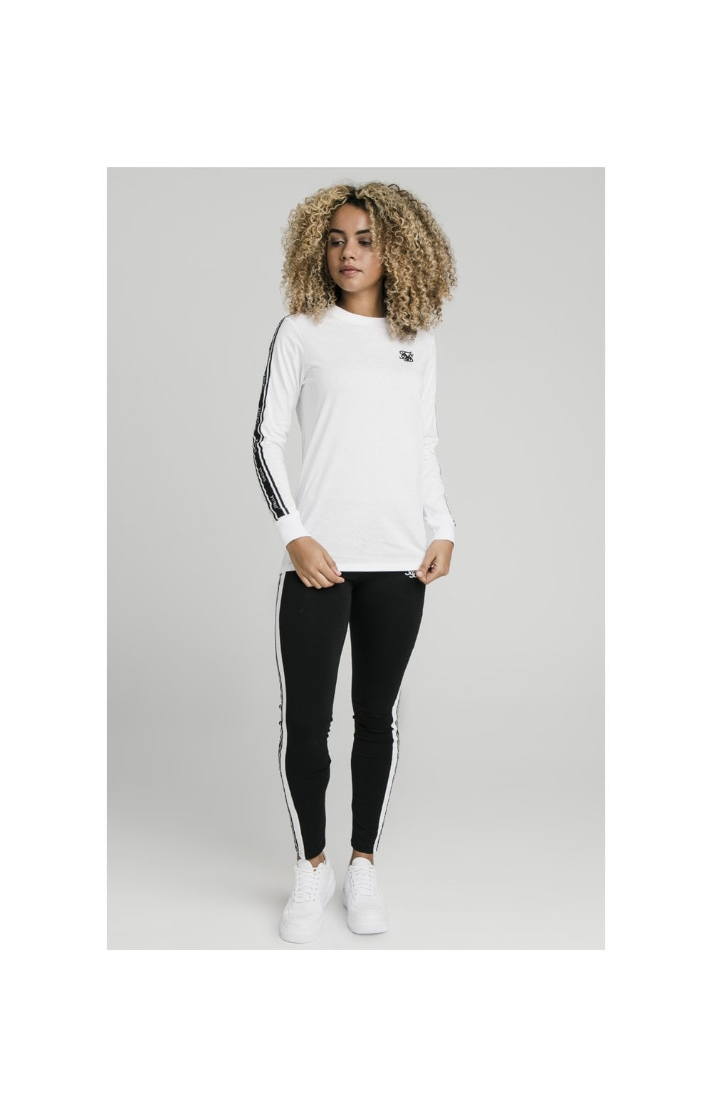 Load image into Gallery viewer, SikSilk L/S Taped Logo Tee - Black & White (4)