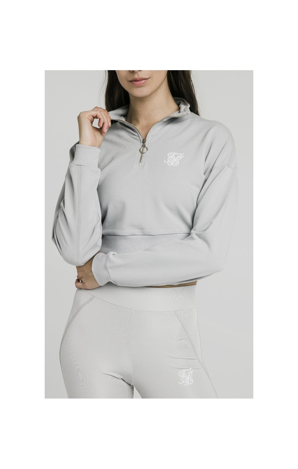 SikSilk Quarter Zip Crop Sweat – Silver