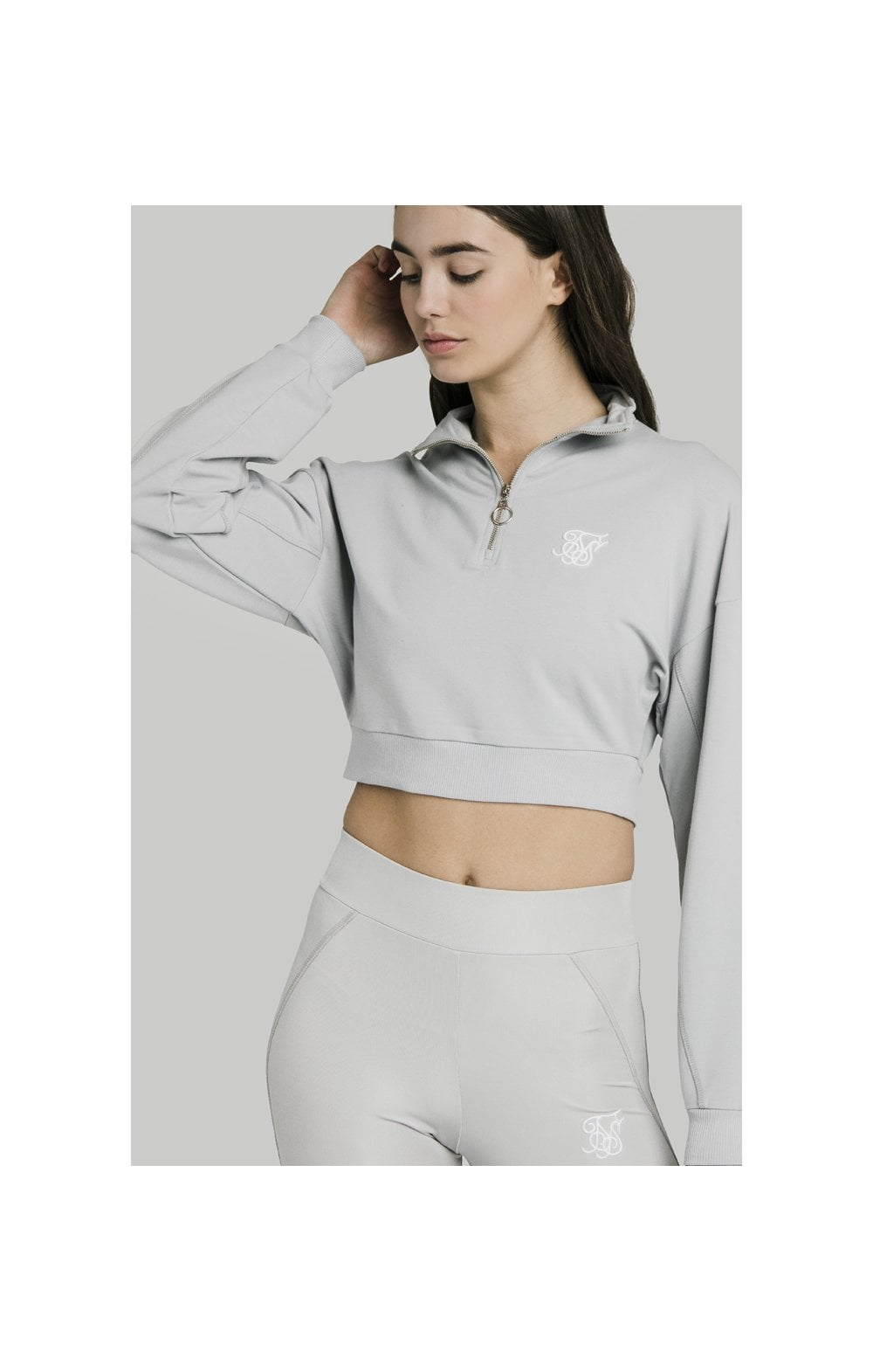 SikSilk Quarter Zip Crop Sweat – Silver (2)