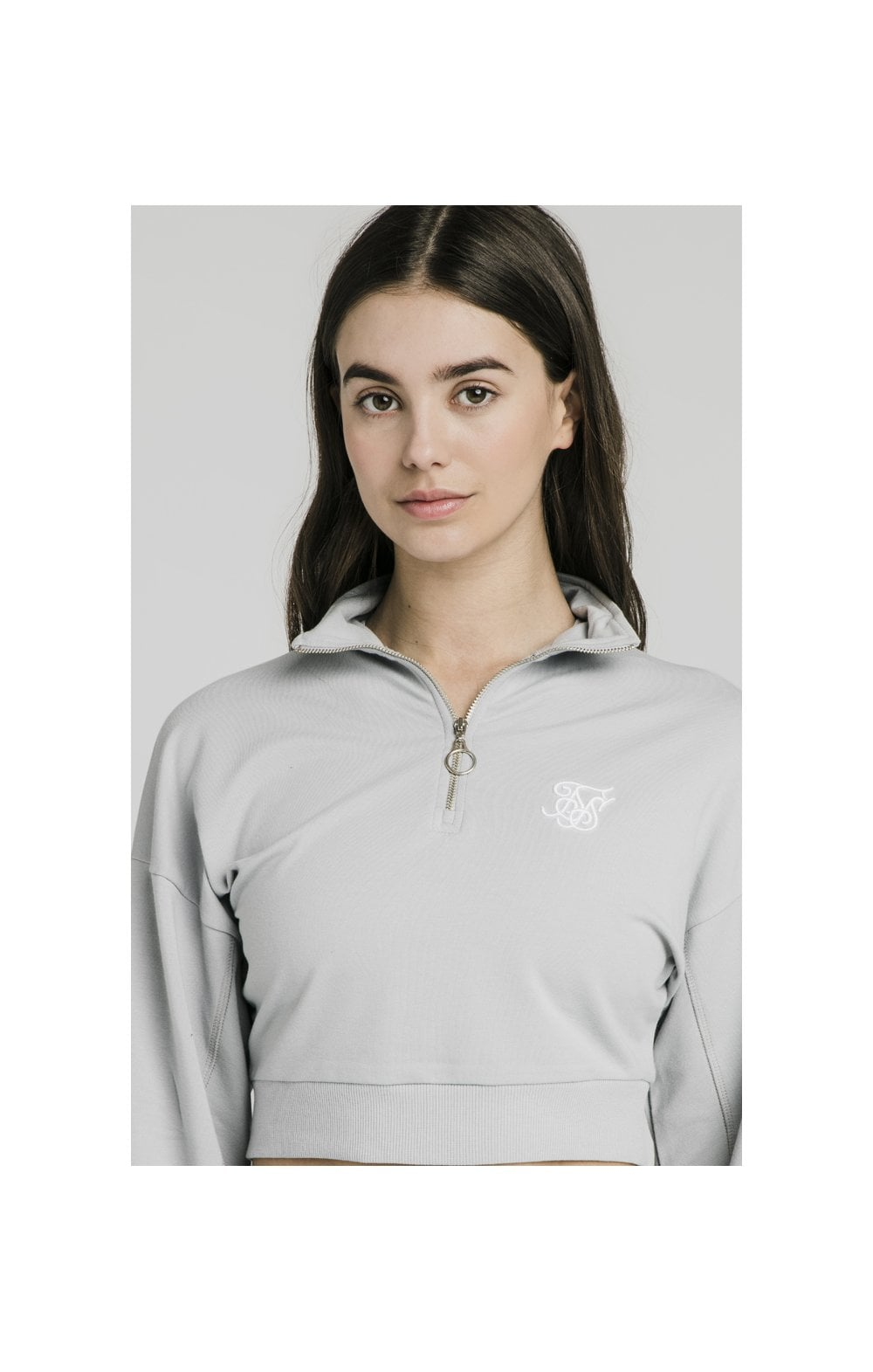 SikSilk Quarter Zip Crop Sweat – Silver (1)