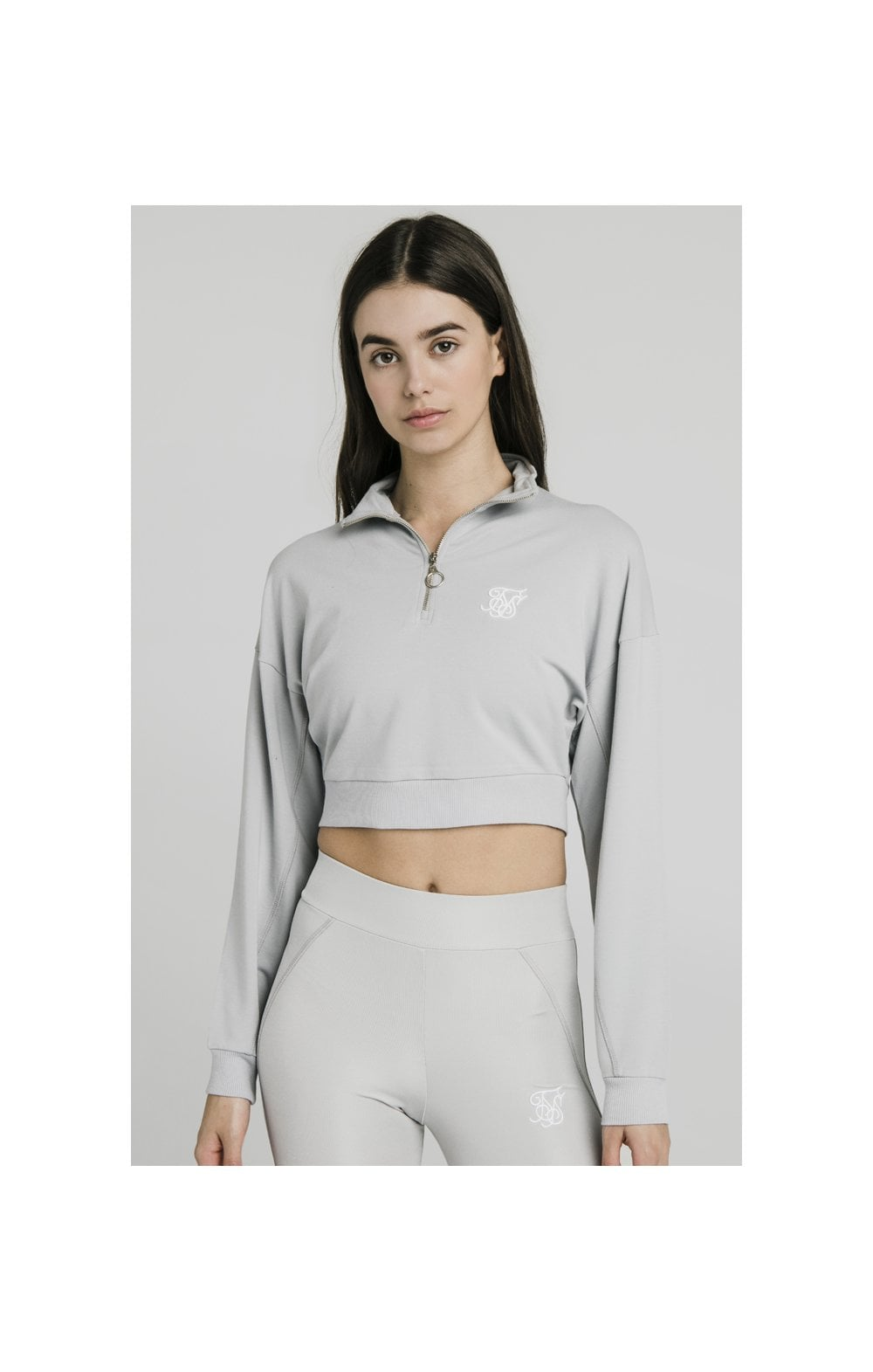 SikSilk Quarter Zip Crop Sweat – Silver (3)