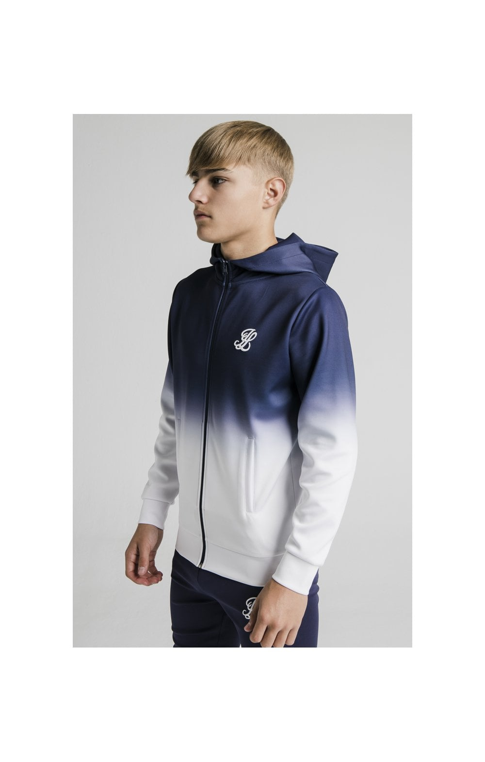 Illusive London Athlete Zip Through Hoodie - Navy & White Fade
