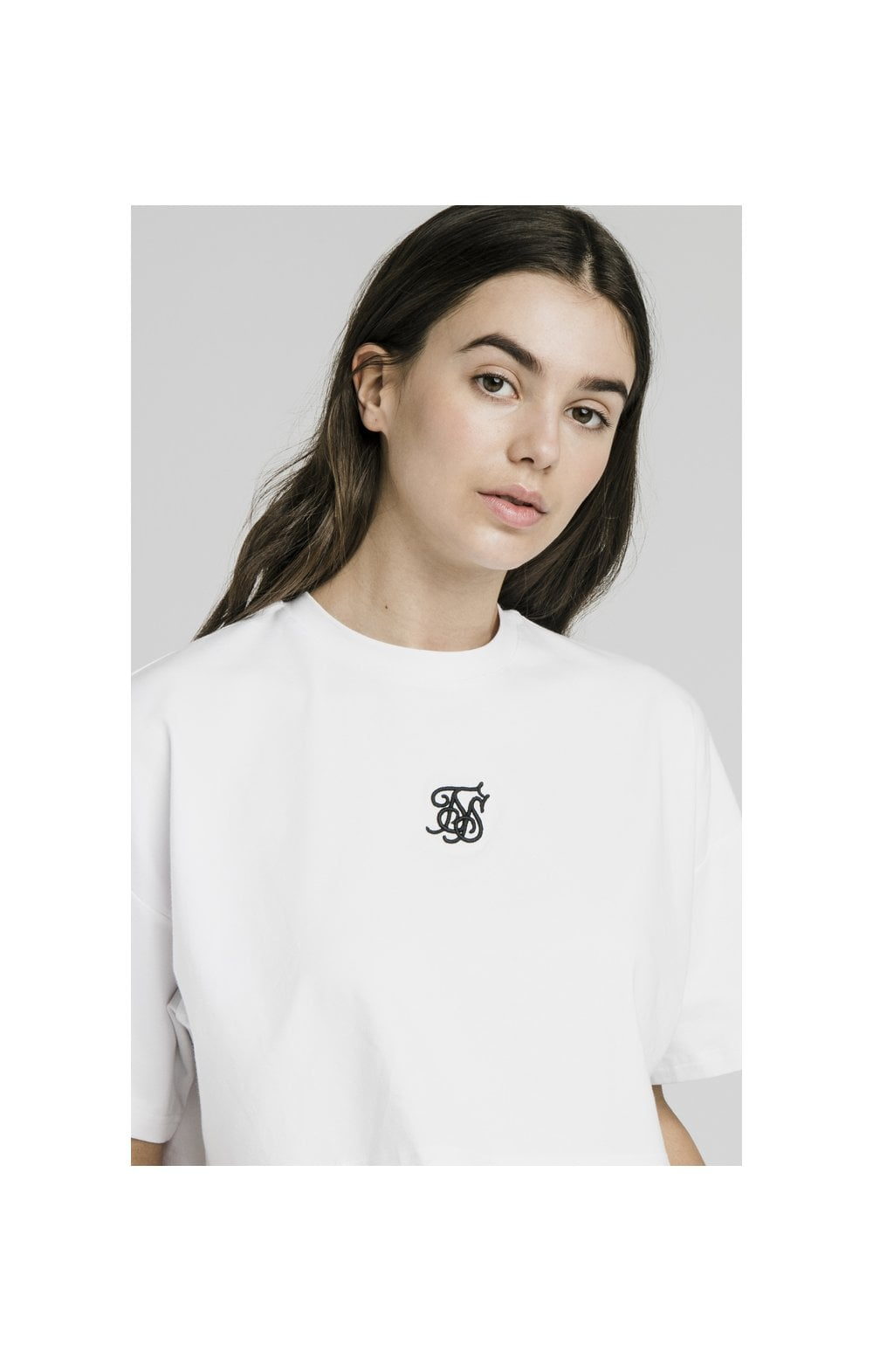 SikSilk Oversize Crop Tee - White