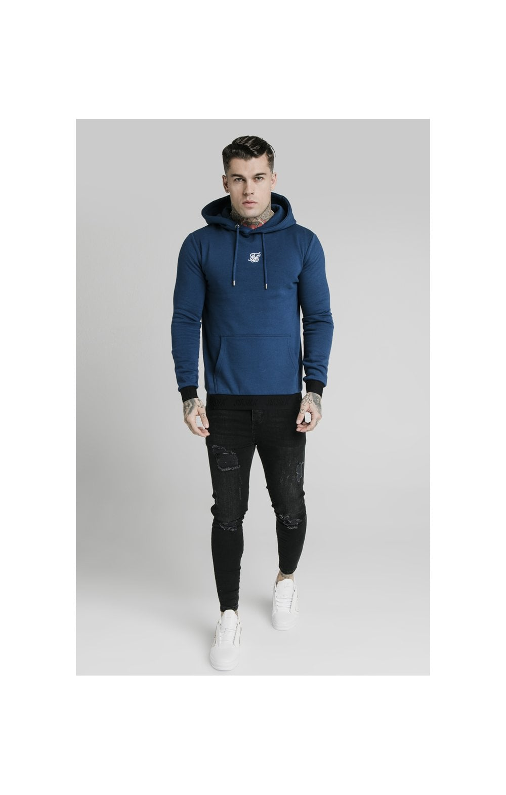 Load image into Gallery viewer, SikSilk Taped Overhead Hoodie – Marine (2)