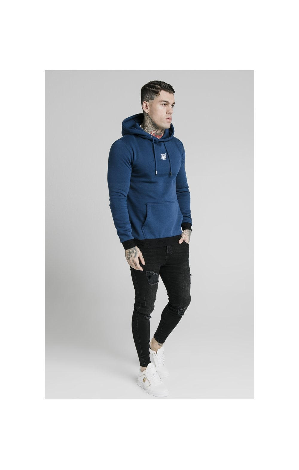 Load image into Gallery viewer, SikSilk Taped Overhead Hoodie – Marine (3)