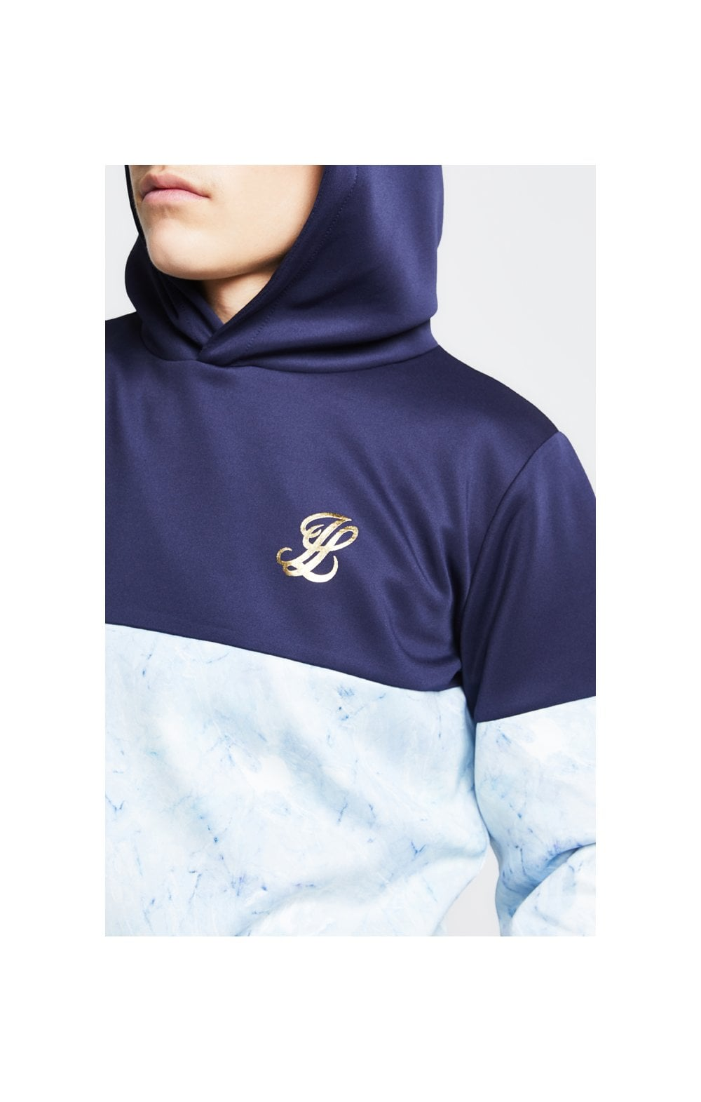 Load image into Gallery viewer, Illusive London Cut & Sew Marble Overhead Hoodie - Navy & Marble
