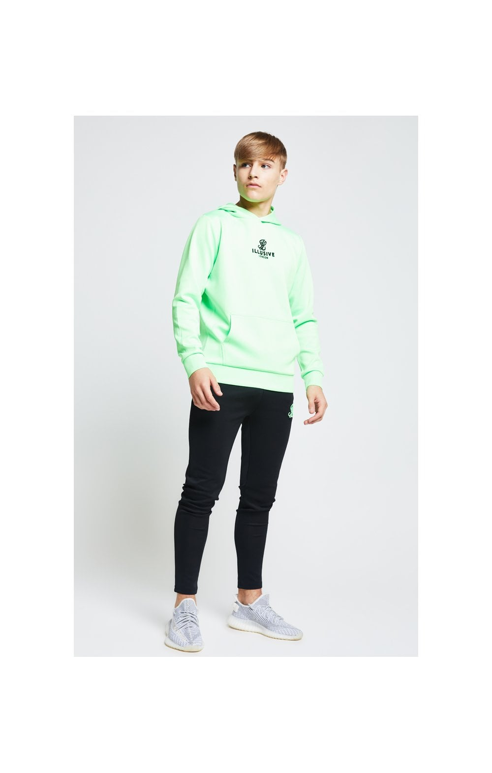 Load image into Gallery viewer, Illusive London Taped Overhead Hoodie - Neon Green (2)