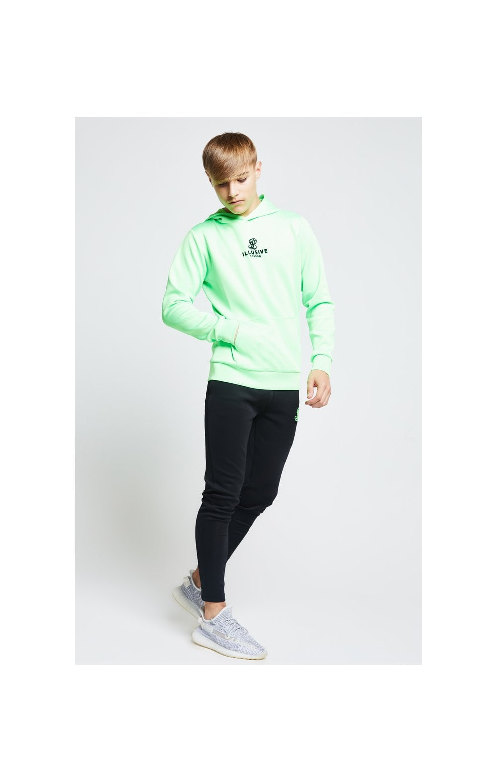 Load image into Gallery viewer, Illusive London Taped Overhead Hoodie - Neon Green (3)