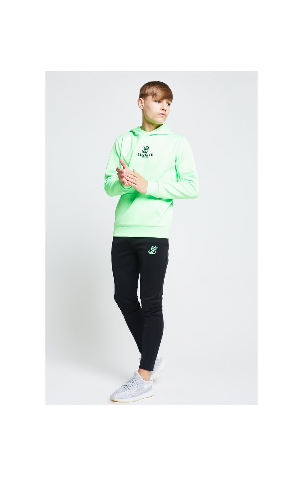 Load image into Gallery viewer, Illusive London Taped Overhead Hoodie - Neon Green (4)