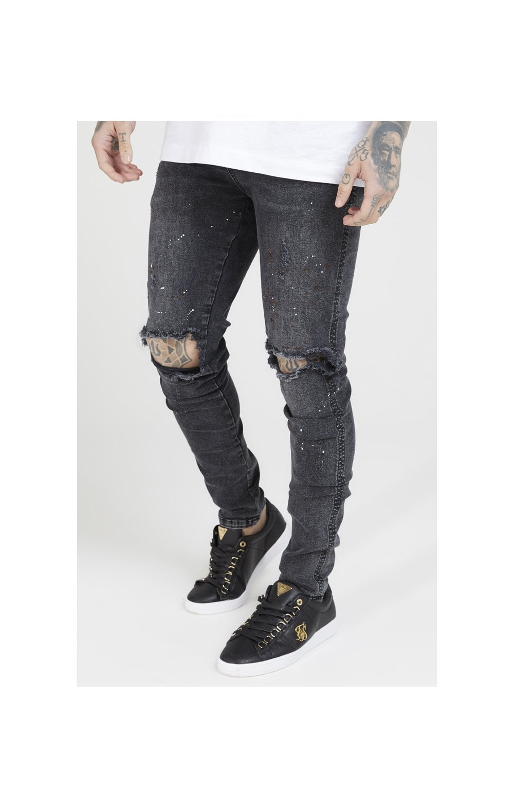 SikSilk Bust Knee Riot Denims - Washed Black