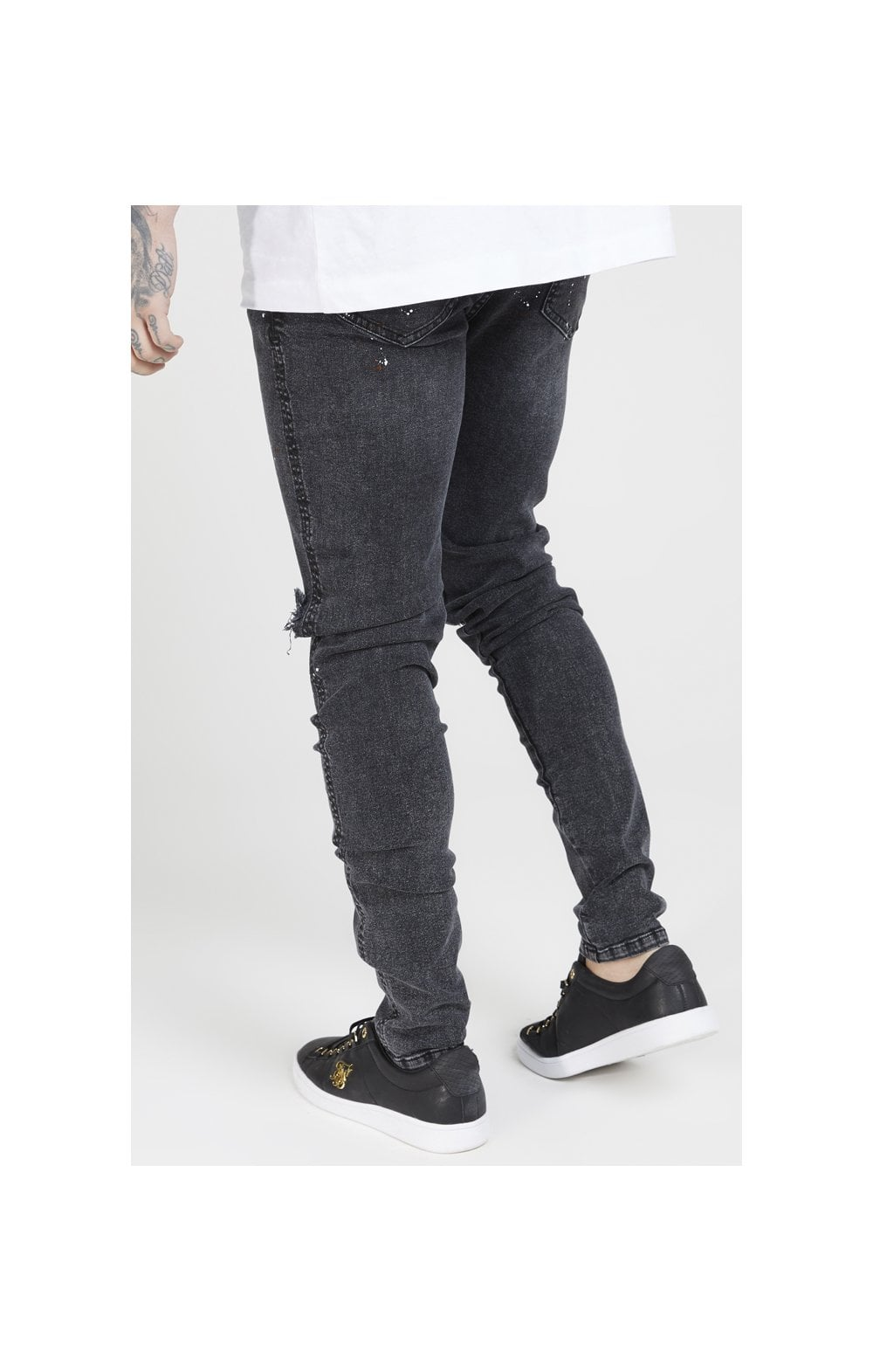 SikSilk Bust Knee Riot Denims - Washed Black (2)