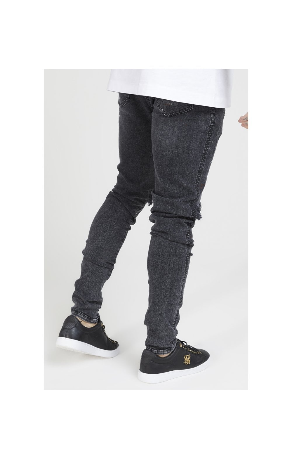 SikSilk Bust Knee Riot Denims - Washed Black (3)