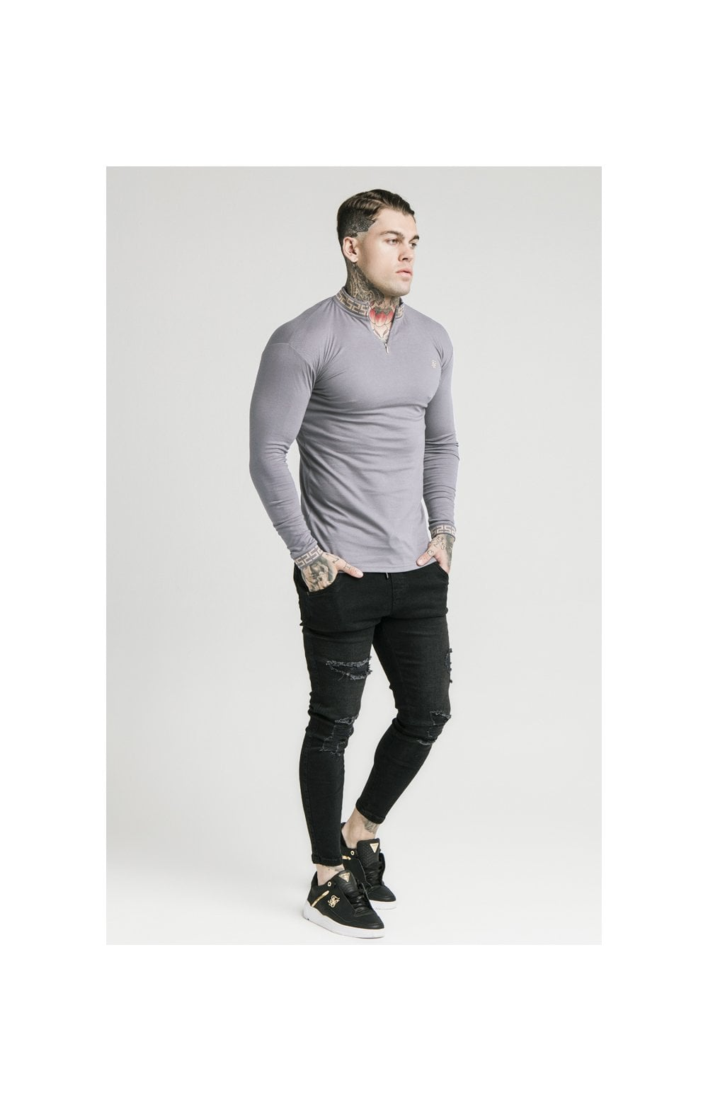 SikSilk L/S Chain Rib Collar Cuff Polo - Grey (1)