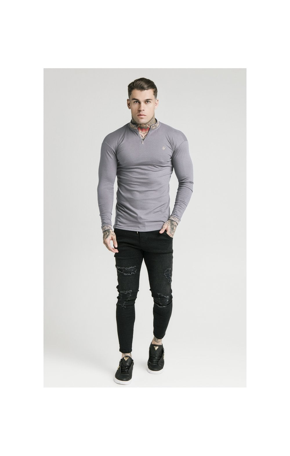 SikSilk L/S Chain Rib Collar Cuff Polo - Grey (2)
