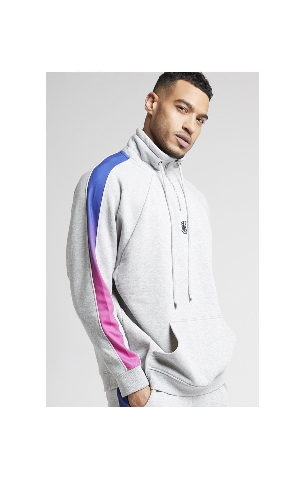 Load image into Gallery viewer, SikSilk Overhead 1/4 Zip Funnel Fade Panel Top – Grey Marl & Neon