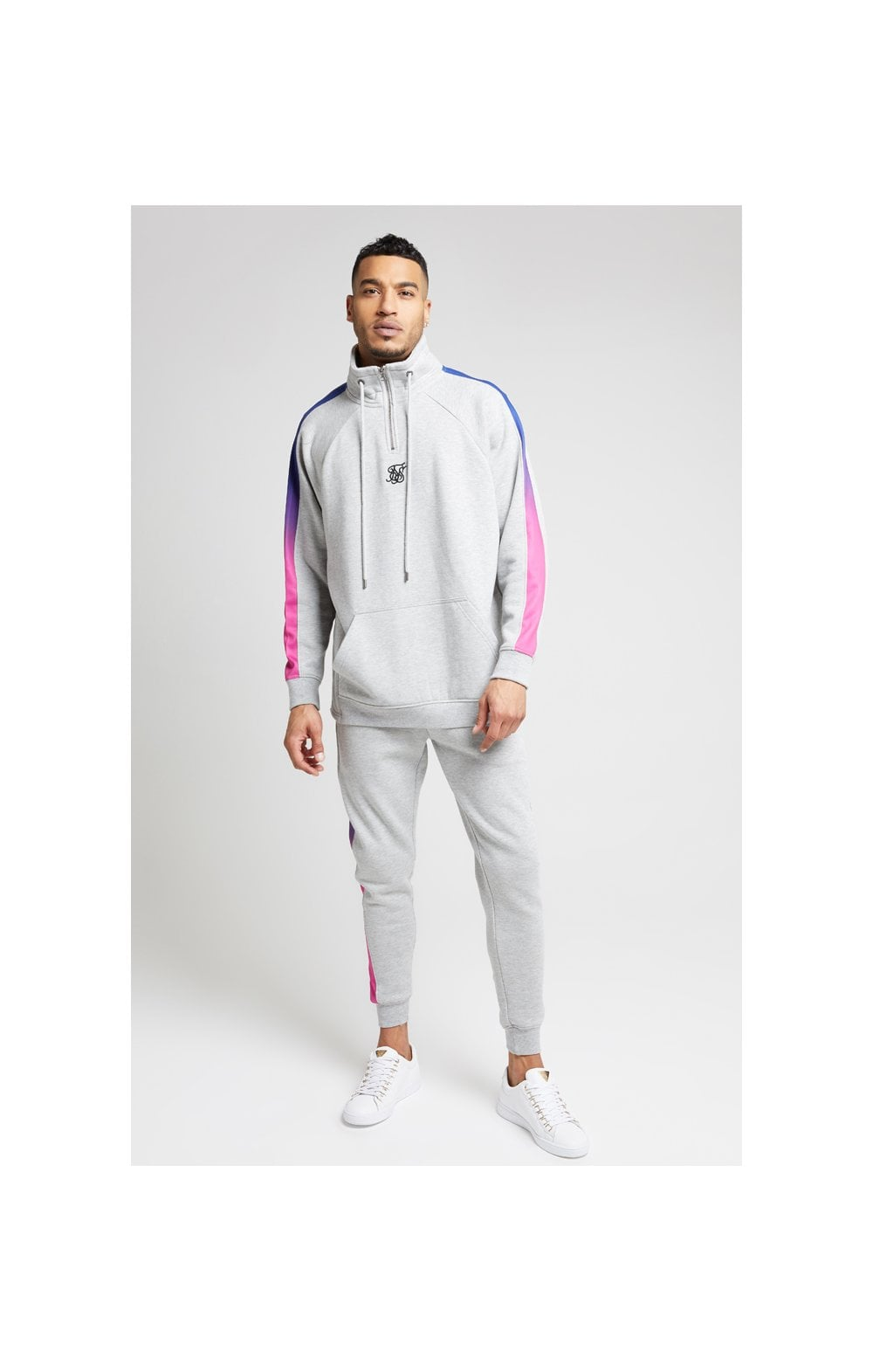 Load image into Gallery viewer, SikSilk Overhead 1/4 Zip Funnel Fade Panel Top – Grey Marl & Neon (1)