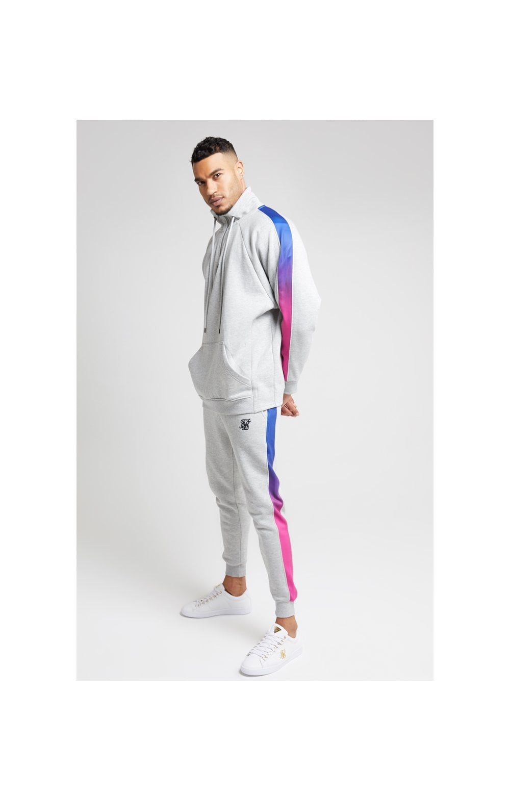 Load image into Gallery viewer, SikSilk Overhead 1/4 Zip Funnel Fade Panel Top – Grey Marl & Neon (2)