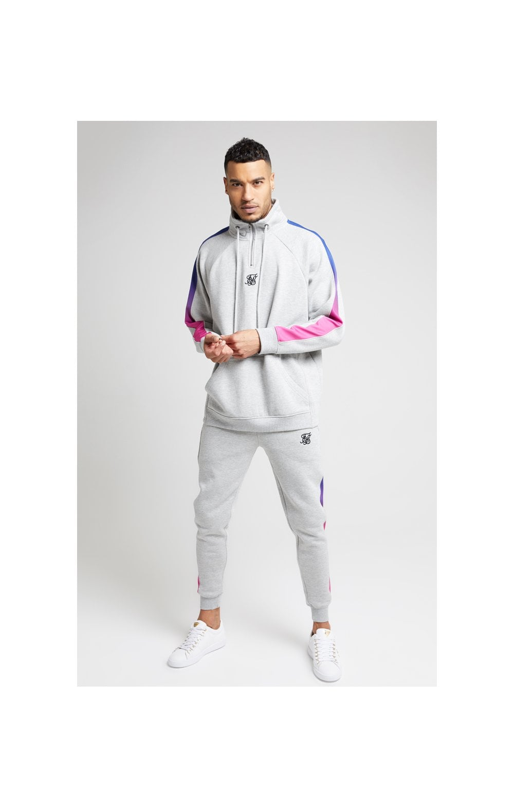 Load image into Gallery viewer, SikSilk Overhead 1/4 Zip Funnel Fade Panel Top – Grey Marl & Neon (3)