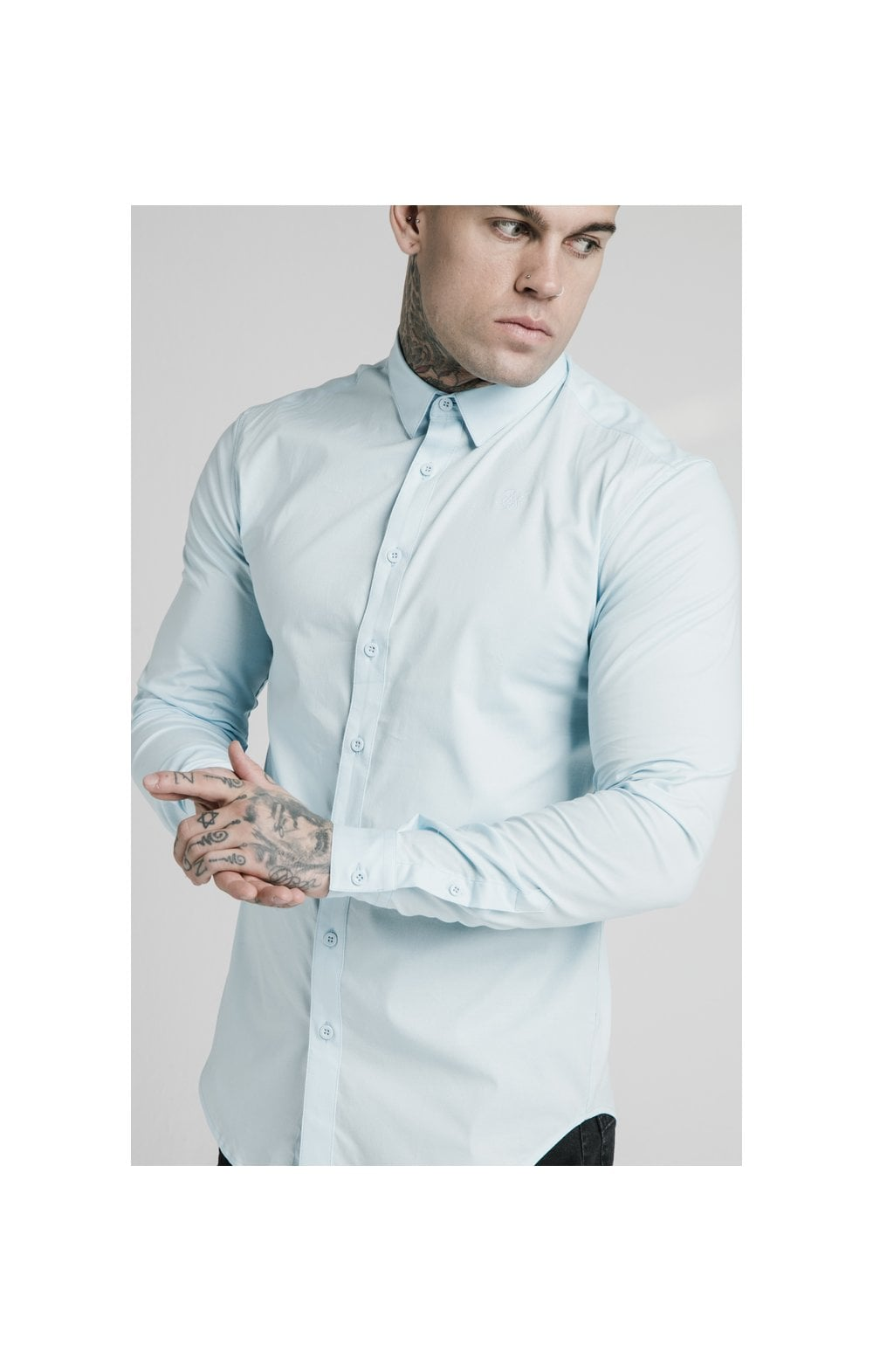 Load image into Gallery viewer, SikSilk L/S Cotton Stretch Shirt - Light Blue