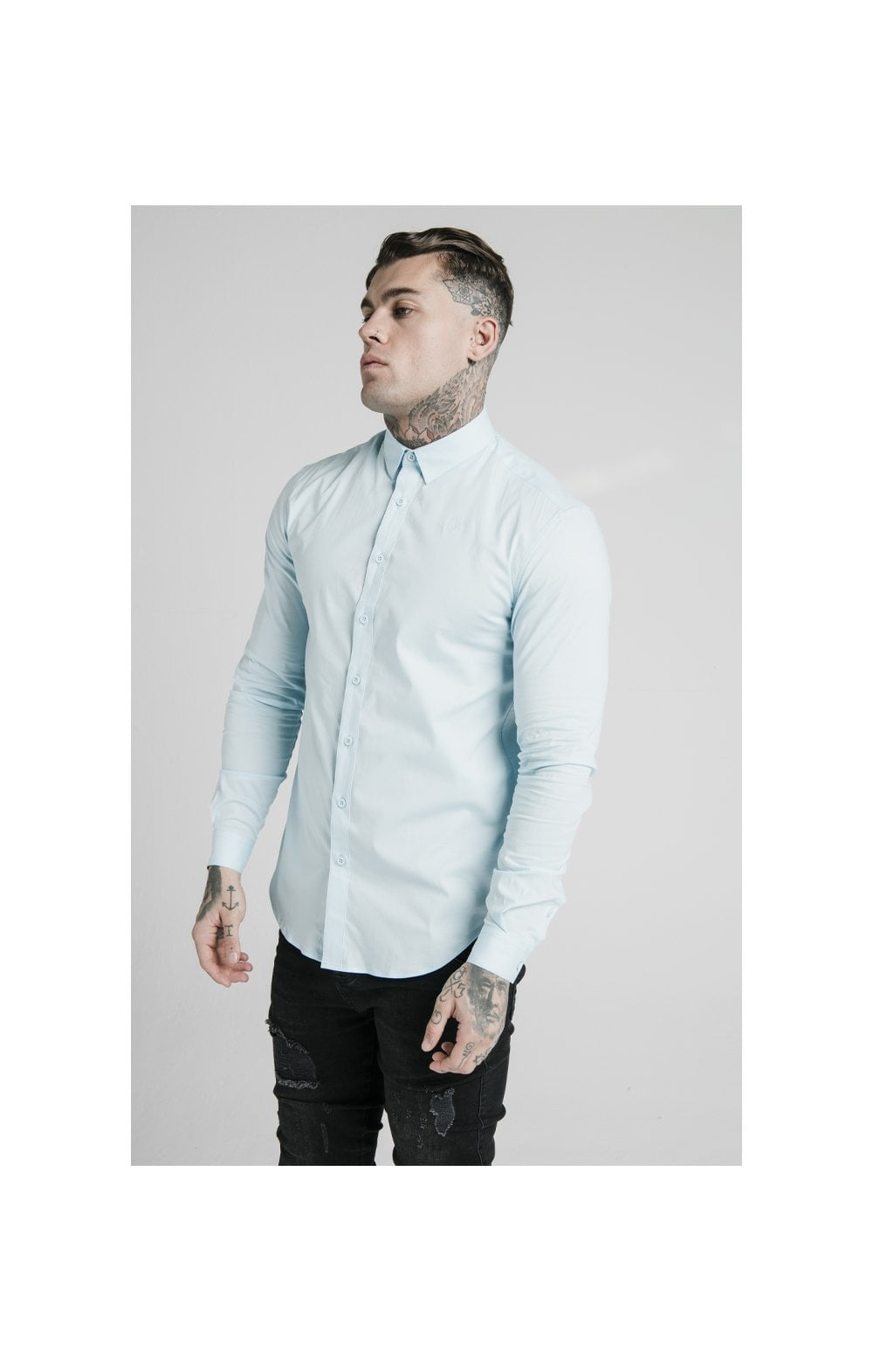 Load image into Gallery viewer, SikSilk L/S Cotton Stretch Shirt - Light Blue (1)
