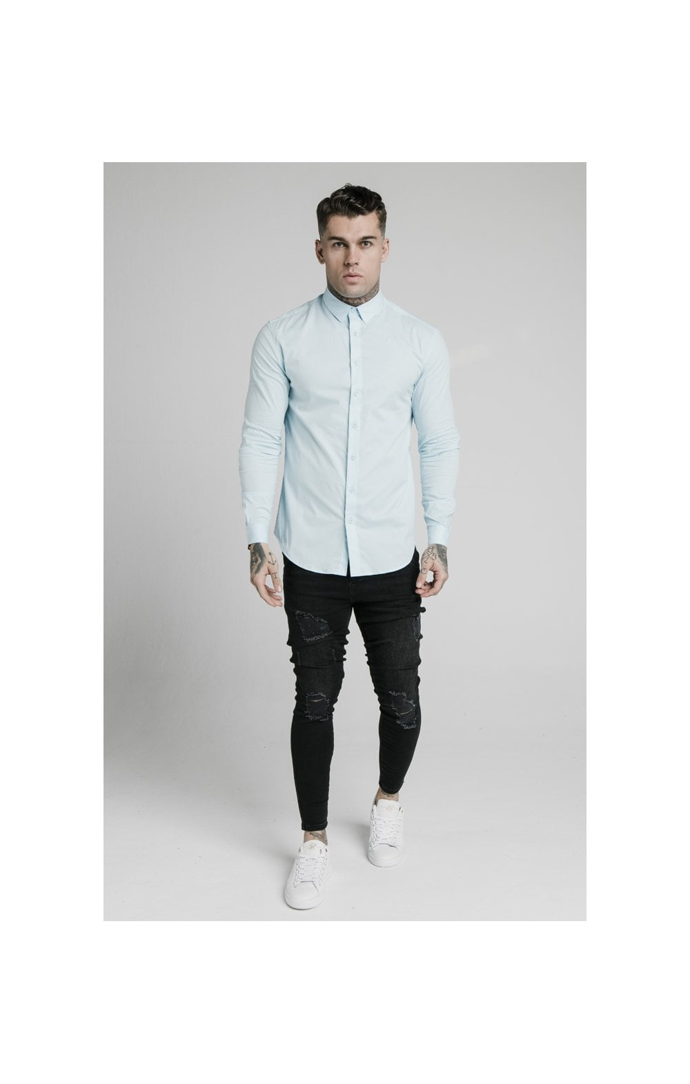 Load image into Gallery viewer, SikSilk L/S Cotton Stretch Shirt - Light Blue (2)