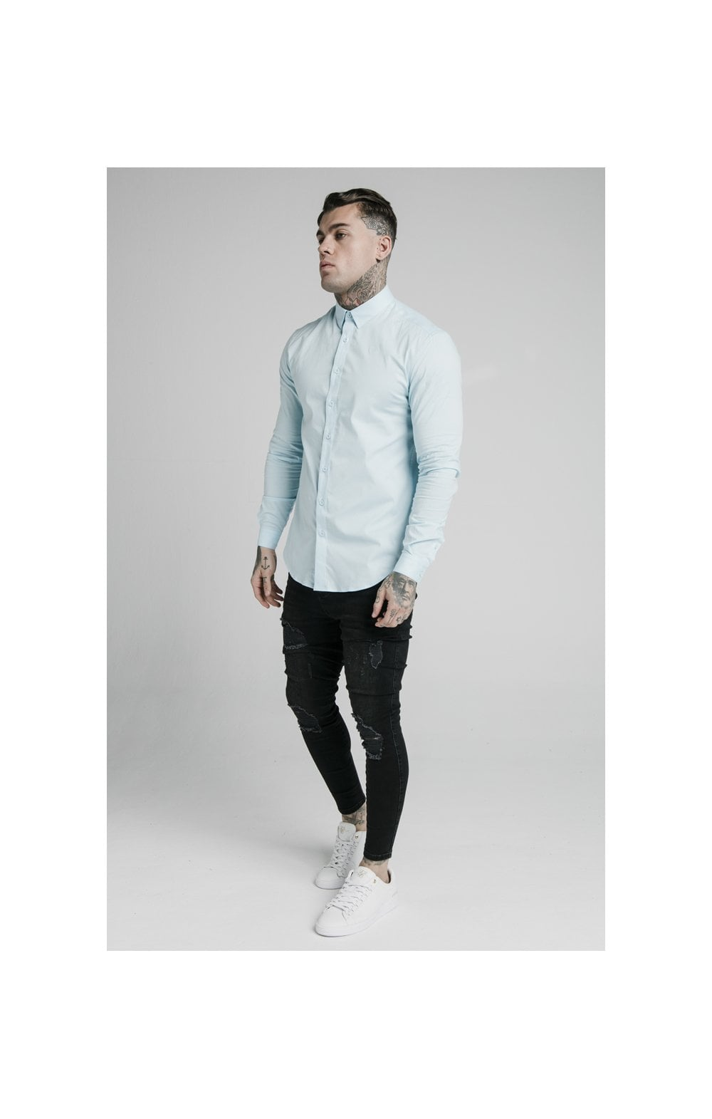 Load image into Gallery viewer, SikSilk L/S Cotton Stretch Shirt - Light Blue (3)