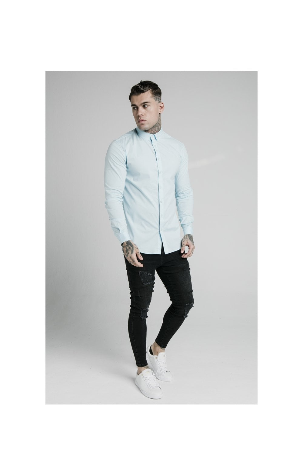 Load image into Gallery viewer, SikSilk L/S Cotton Stretch Shirt - Light Blue (4)