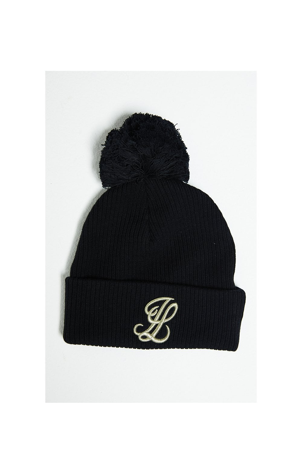 Illusive London Rib Bobble Hat - Black & Gold