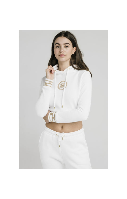 SikSilk Luxury Cropped Hoodie - White
