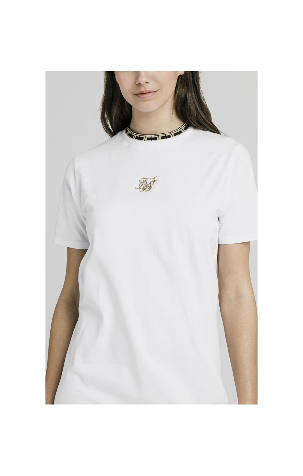 Load image into Gallery viewer, SikSilk Tape Collar T-Shirt Dress - White