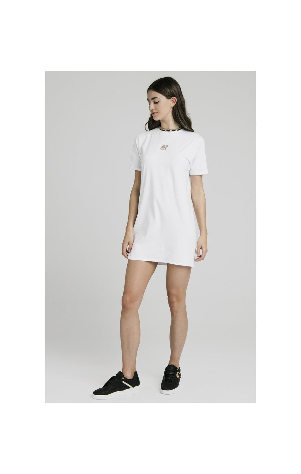 SikSilk Tape Collar T-Shirt Dress - White (1)