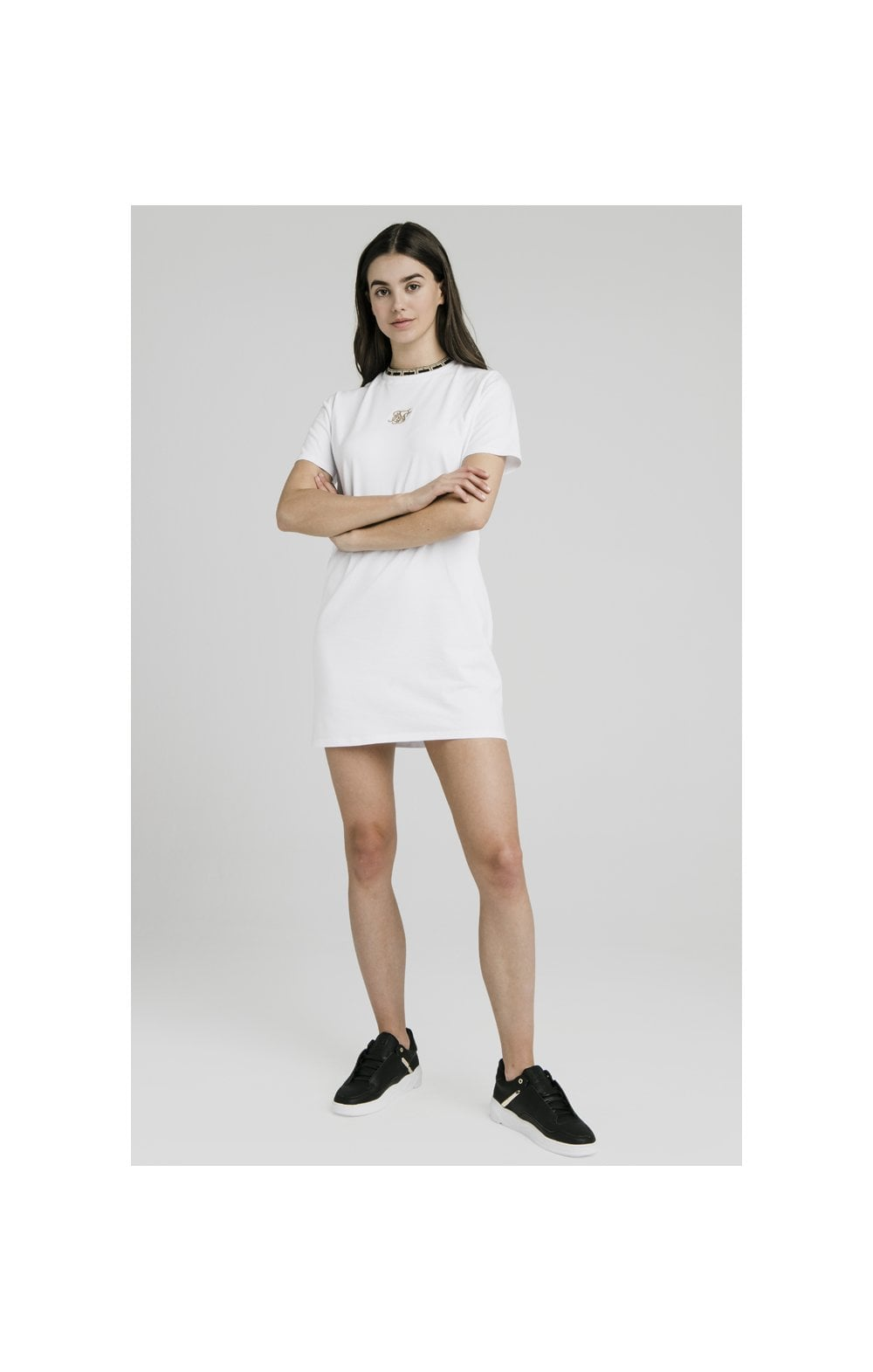 Load image into Gallery viewer, SikSilk Tape Collar T-Shirt Dress - White (2)