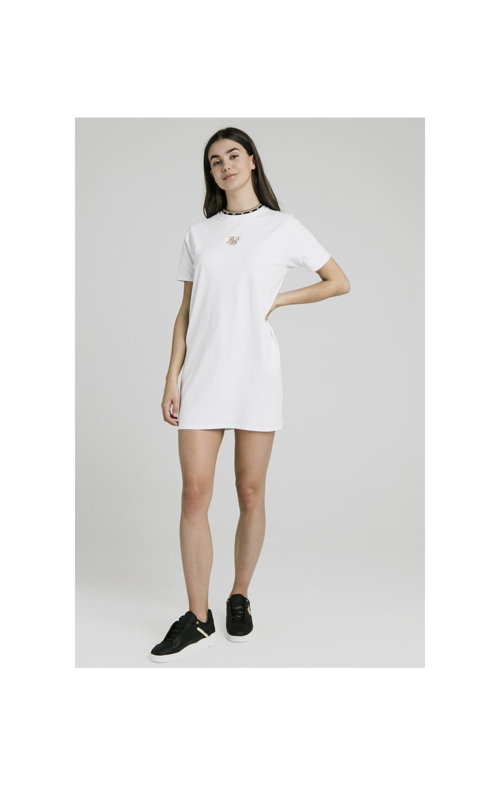 Load image into Gallery viewer, SikSilk Tape Collar T-Shirt Dress - White (3)